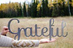 "Grateful sign (large)- raw steel (23""w x 9""h) (metal art, wall decor, fall, thankful, give thanks, gratitude)"