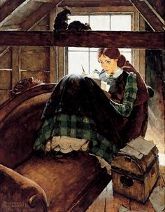 Jo Seated on the Old Sofa by Norman Rockwell, Oil on canvas. (Jo March from the novel Little Women by Louisa May Alcott) I never knew that Norman Rockwell drew Jo. This is lovely! Peintures Norman Rockwell, Norman Rockwell Art, Norman Rockwell Paintings, Illustrator, Vintage Illustration, Old Sofa, Louisa May Alcott, Wow Art, Belle Photo