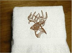 Is your deer hunter a lady? Great gift for the kitchen decor or bathroom decor  Borgmanns Creations  #giftforher #giftforasportsman #embroideredgift Kitchen Towels, Kitchen Decor, Rustic Home Interiors, Gifts For Hunters, Embroidered Gifts, Fish Design, Bath Decor, Hand Towels, Personalized Gifts