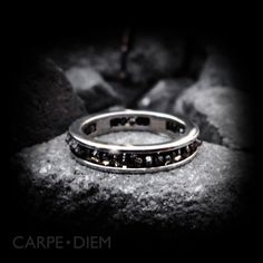 Valentine's Day Gifts Black Diamond Ring Silver Wedding Band Man Woman Personalize Jewelry