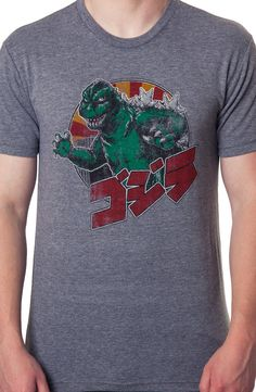 Kanji Godzilla Shirt: Non 80s Movies: Licensed Mens Godzilla Shirts