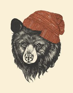 """""""zissou the bear"""" This piece interest me a lot, because I love bears, and this bear is wearing a hat, which is very creative. I might want to do something like this for my next printmaking project."""