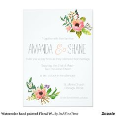 Watercolor hand painted Floral Wedding Invitation
