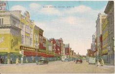 Racine Postcard - MAIN STREET, Racine, Wis