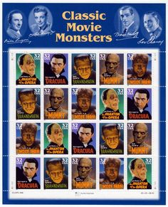 Classic movie monster stamps