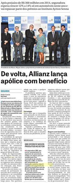 Título: De volta, Allianz lança apólice com benefício. Veículo: DCI. Data: 11/03/2015. Cliente: Allianz