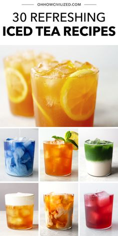 Drink Recipes Nonalcoholic, Yummy Drinks, Healthy Drinks, Ice Tea Drinks, Alcoholic Iced Tea, Cold Drinks, Green Tea Recipes, Iced Tea Recipes, Coffee Recipes