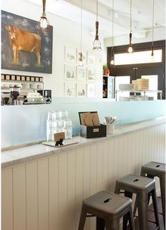 clean and simple seating at Moomah cafe in NY