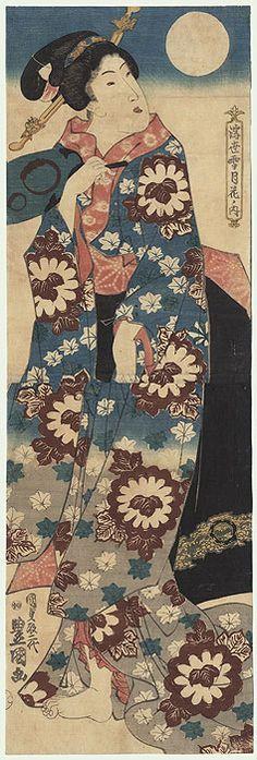 Moon Kakemono, circa 1844 by Toyokuni III/Kunisada (1786 - 1864)