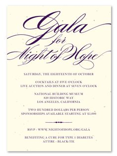 Unique Gala Invitations on plantable paper ~ Stately Event by Green Business Print
