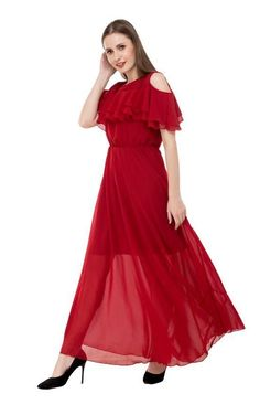 Women's Georgette Cold Shoulder Maxi Dress Cold Shoulder, Neckline, Formal Dresses, Casual, Sleeves, Fabric, American, Color Red, Type