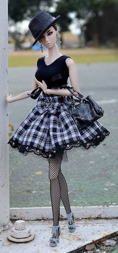 BArbie in Check Skirt and Black Top