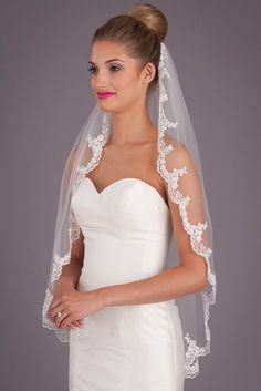 Look like a princess wearing Kennedy Blue Penelope on your big day. This lace wedding veil showcases unique elegance beautifully. Kennedy Blue Penelope is a stunning fingertip wedding veil that measur Wedding Hair Flowers, Wedding Veils, Wedding Wear, Wedding Attire, Lace Wedding, Bridal Veils And Headpieces, Lace Veils, Veil Hairstyles, Wedding Hairstyles With Veil