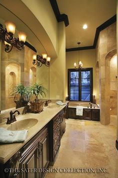 If you are having difficulty making a decision about a home decorating theme, tuscan style is a great home decorating idea. Many homeowners are attracted to the tuscan style because it combines sub… Home Design, Bath Design, Design Ideas, Interior Design, Tuscan Style Homes, Tuscan House, Dream Bathrooms, Beautiful Bathrooms, Tuscan Bathroom Decor