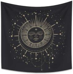 OERJU 29.5x29.5 Inch Tarot Style Tapestry Burning Sun Crescent Moon...
