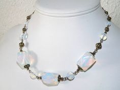 Opalite White Opalite Large Stone Statement Necklace Milky Opalescent  #Handmade #Statement
