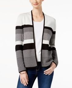 Charter Club Cotton Striped Cardigan, Created for Macy's - Tan/Beige XXL
