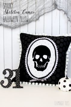 Spooky Skeleton Halloween Pillow