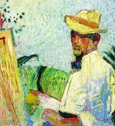 Self-Portrait (1921) by Swiss painter Cuno Amiet (1868-1961). source: WikiArt. via pink pagoda studio