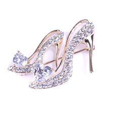 Maya Element Women's Fashion Vintage High Heel Shoes Simulated Diamond Pin Brooch