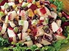 Apple Crunchy Crisp Salad Recipe - I've also seen this called Apple Waldorf Salad.   It's a copycat recipe that started from the Waldorf Astoria Hotel in NYC.