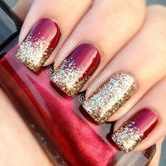 Festive Nail Art: Deep Red with gold and multicolour glitter tips and accent nail - Instagram photo by alexxnails