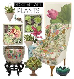 """""""Decorate with Plants"""" by joyce-williams ❤ liked on Polyvore featuring interior, interiors, interior design, home, home decor, interior decorating, Umbra, Pottery Barn, Gold Eagle and Nearly Natural"""