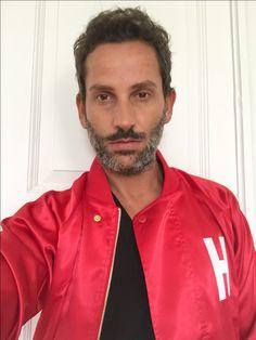 Dimitrios Panagiotopoulos #dimitriospanagiotopoulos #fashiondesigner #bydimitri Red Leather, Leather Jacket, Fashion Brand, Fashion Design, Greece, Label, Jackets, Italy, Studio