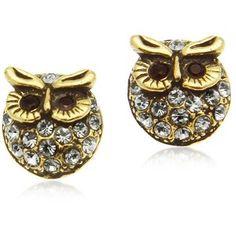 Alcozer & J Crystal Brass Owl Earrings