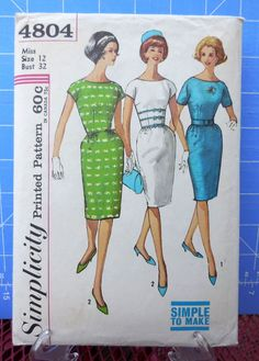 Simplicity 4804  Lovely Chic 1960s Dress  Slim Skirt by Clutterina, $4.99