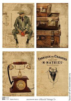 """Купить Декупажные карты """"Men & Vintage"""" от Base of Art - декупажная карта"""