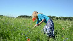 Young Woman With Bouquet Of Wild Flowers In Nature Stock Footage ...