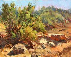 TAMARISK BUSH by James M. Coulter Oil ~ 8 x 10