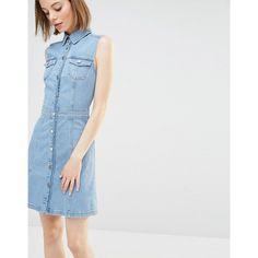 Warehouse Sleeveless Denim Dress (105 CAD) ❤ liked on Polyvore featuring dresses, blue, sleeveless skater dress, blue fit-and-flare dresses, fit and flare dress, tall skater dress and blue dress