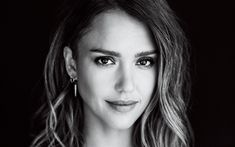 Download wallpapers Jessica Alba, 4k, American actress, monochrome, portrait, face, fashion model