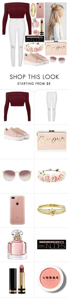 """Amour"" by nirataa ❤ liked on Polyvore featuring River Island, BCBGMAXAZRIA, Linda Farrow, Forever 21, Belkin, Jennifer Meyer Jewelry, Guerlain, Charlotte Russe, Gucci and LORAC"