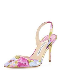 MANOLO BLAHNIK Carolyne Floral High-Heel Halter Pumps Purple Print $625  (Compare Elsewhere $700) SHIPS FREE BEST PRICES YOU WILL FIND ANYWHERE ON GENUINE LADIES DESIGNER BRANDS! FREE WORLD SHIPPING & LOCAL DELIVERY AVAILABLE AT THE SURF CITY SHOP in Huntington Beach, California Major Credit Cards Accepted