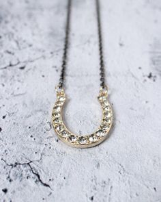 Mixed Metal Crystal-Studded Horseshoe Necklace - Gunmetal and Gold Necklace - Modern Jewelry - Minimalist Jewelry - Good Luck