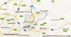 Areas near to Kempton Park  Benoni, Boksburg, Brakpan, Nigel, Springs. Kempton Park, Renting A House, Map, Location Map, Maps