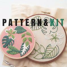 KIT de bordado de la mano: Plantas tropicales - diseño de bordado para principiantes - bordado contemporáneo moderno patrón - plantas de puntadas