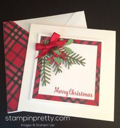 Pretty Pines Thinlits Dies holiday & Christmas card idea. Mary Fish…