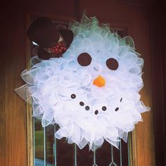 Deco Mesh Snowman Wreath - Measures approximately 24 inches. Top hat ribbon and embellishments may vary but the concept will remain the same.