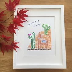 Llama, cacti and the hill. Cute print made with hand carved stamps. By My Stamped World