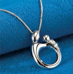 14k Yellow Gold Mother Holding Baby Child Pendant with Figaro Chain Necklace