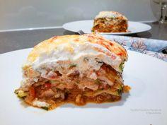 Courgette lasagne, oh my! Zucchini Lasagna, Grilled Zucchini, Healthy Recepies, Calories, Vegan Vegetarian, Oven, Good Food, Veggies, Low Carb