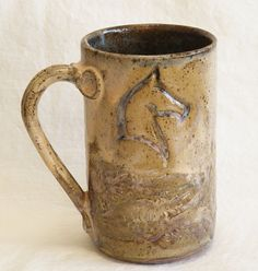 ceramic horse mug 16oz stoneware 16A021 by desertNOVA on Etsy, $20.00