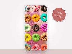 Donut Glitter Phone Case Clear Case For iPhone 8 iPhone 8 Plus