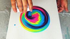 (456) Fluorescent tree for TIA ~ SPLIT CUP acrylic pour painting TUTORIA...