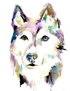 Print of Watercolor Painting Husky 8 x 10 Print by ArtbyJessBuhman, $25.00 #dog #husky #custompet Pet portrait