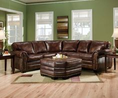 SIMMONS 9222DN ENCORE BROWN LEATHER SECTIONAL SOFA OTTOMAN NAILHEADS